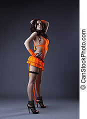go-go, beauty, dansen kostuum, sinaasappel, meisje