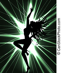 go-go dancer and laser show - Flyer card for disco party...
