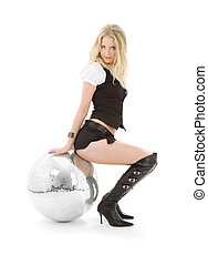 go-go dancer in high boots with disco ball - picture of...