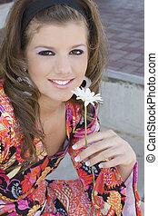 Go Go Girl - Beautiful go go girl with flower. Sitting ...