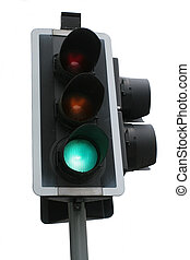 Traffic lights at green for go, isolated against a white background.