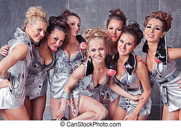 go-go, lindo, siete, grupo, niñas, disfraz, listo, fiesta, sonriente, plata, feliz