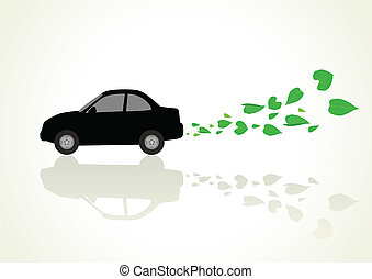 Go Green Car - Conceptual illustration of a low or zero...