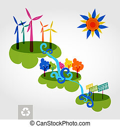 Go green colorful city wind turbines, trees and solar panels. Industry sustainable development with environmental conservation background illustration. Vector file layered for easy editing.