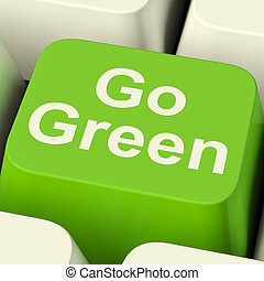 Go Green Computer Key Showing Recycling And Eco Friendly