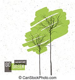 Go Green Concept Poster With Trees. Vector