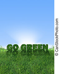 Go Green Energy - Textured go green sign over fresh grass....
