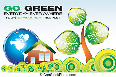 Go Green Environment Card - Go green recycle and environment...