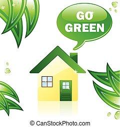 Go Green Glossy House. Editable Vector Image