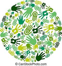 Go green hands circle