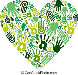 Go green human hands icons in love heart isolated over white background. Vector file layered for easy manipulation and custom coloring