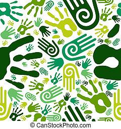 Go green hands seamless pattern