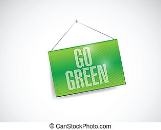 go green hanging banner illustration design