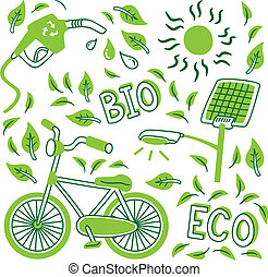 go green icon doodle
