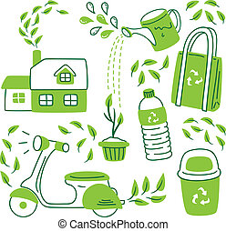 go green icon in doodle style