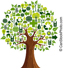 Go Green icons concept tree - Environmental conservation ...