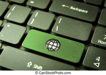Go green keyboard key with globe icon, environment background