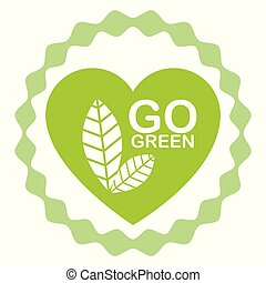 go green label with heart