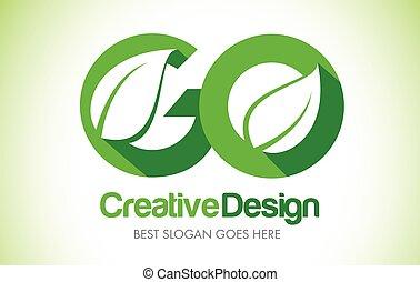 GO Green Leaf Letter Design Logo. Eco Bio Leaf Letter Icon Illustration Logo.