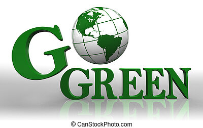 go green logo word and earth globe