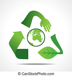 go green or save earth concept - creative recycle shape...