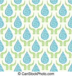 Go Green Pure Water Drop Seamless Pattern