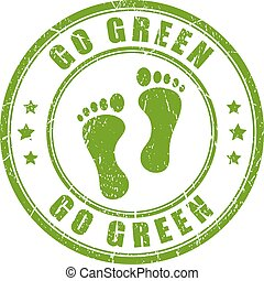 Go green rubber vector stamp