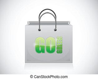 go green shopping bag illustration design