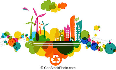 Go green colorful city. Industry sustainable development with environmental conservation background illustration. Vector file layered for easy editing.