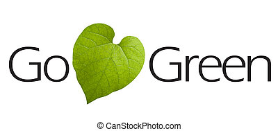 Go Green Type - Go Green type with green leaf symbol.