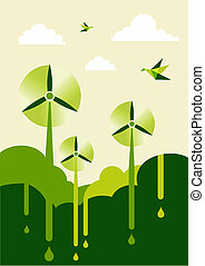Go Green wind-turbine park - Go green with-turbine park...