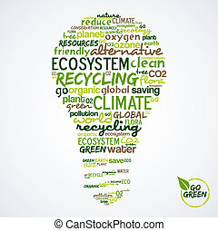 Go Green. Words cloud about environmental conservation in...
