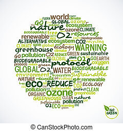 Go Green. Words cloud about environmental conservation in circle shape. Vector file available.