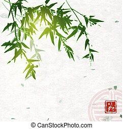 go-hua., sumi-e, groot, zegen, hiëroglief, beauty, -, bevat, met de hand gemaakt, meldingsbord, traditionele , achtergrond., papier, oosters, inkt, groene, bamboe, rijst, schilderij, u-sin