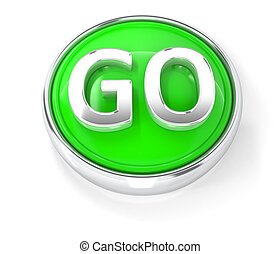 GO icon on glossy green round button