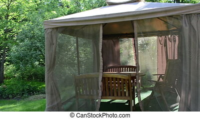 garden gazebo arbor - Go into garden gazebo arbor with net...