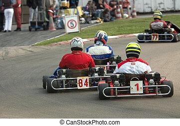 go kart racing on circuit