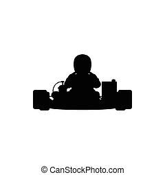 Go-kart silhouette. Vector