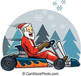 Go Karting Santa - Vector illustration of Santa driving...