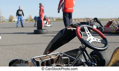 Go-karts sport competitions, preparation for the start, slow...
