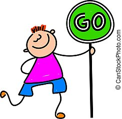 go kid - happy little caucasian boy holding a go sign -...