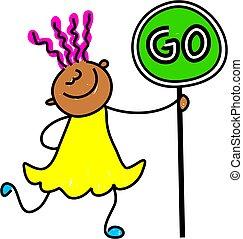 go kid - happy little ethnic girl holding a go sign -...