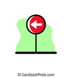 Go Left Conceptual Vector Icon Design Illustration