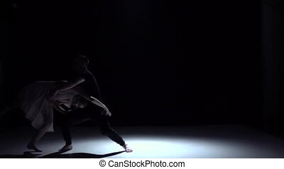 Go on graceful contemporary dance of couple dancers on black, shadow, slow motion