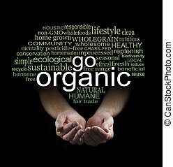 Go Organic Campaign Poster - Male cupped hands on a black...