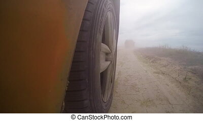 Go pro shot of a car's wheel - A go pro shot mounted near to...