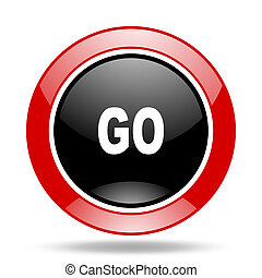 go red and black web glossy round icon
