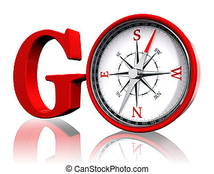 go red word and conceptual compass on white background. ...