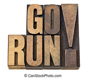 go run in letterpress wood type
