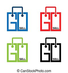 Go sell stock icons. Colorful set icon. label. vector